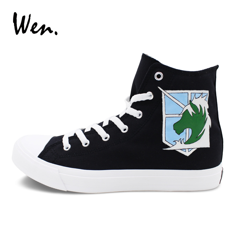 Wen Designers Sneakers Women Classic Black Canvas High Top Attack On Titan Military Police Hand Painted Shoes Men Plimsolls Flat