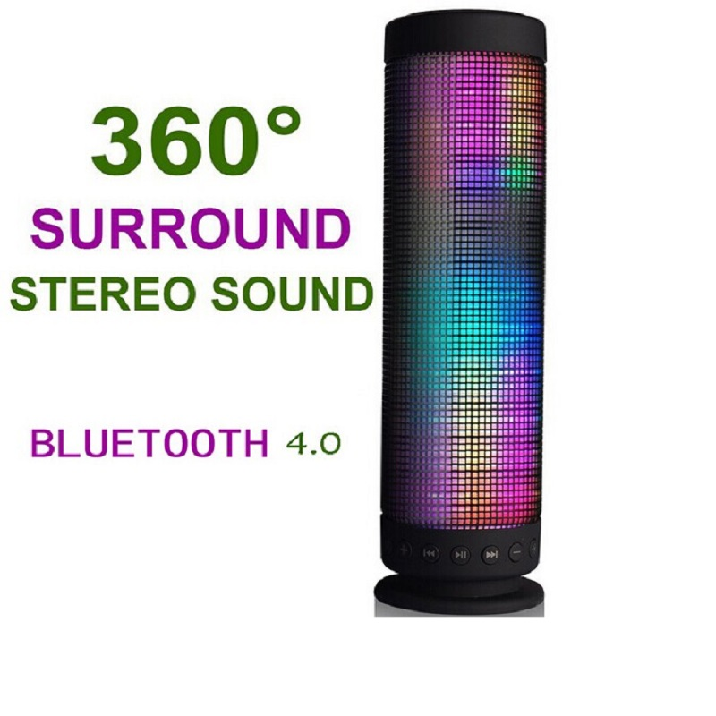 LED lights Bluetooth Speaker Portable Power Recharged 360 Degree USB DC 5V Surround Stereo Sound Wireless Sound bass speaker vtf18 4n1212