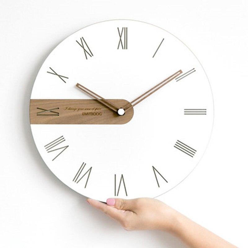 Nordic wall clock, living room bedroom home clock, creative wooden silent clock