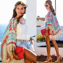 Women Ladies Summer New Boho Hippie Tassels Shawl Top Floral Kimono Loose Blouse Cape Cardigan(China)