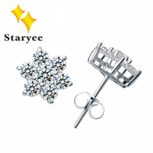 3.5 Carat Effect Certified 1.5 CT Fashion Real 18K Solid White Gold Simulated Diamonds Earrings For Women Christmas Gift