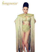 SONGYUEXIA Sexy female gold tassel stage dancewear singer ds tassel gogo costume handmade fashion costumes(China)