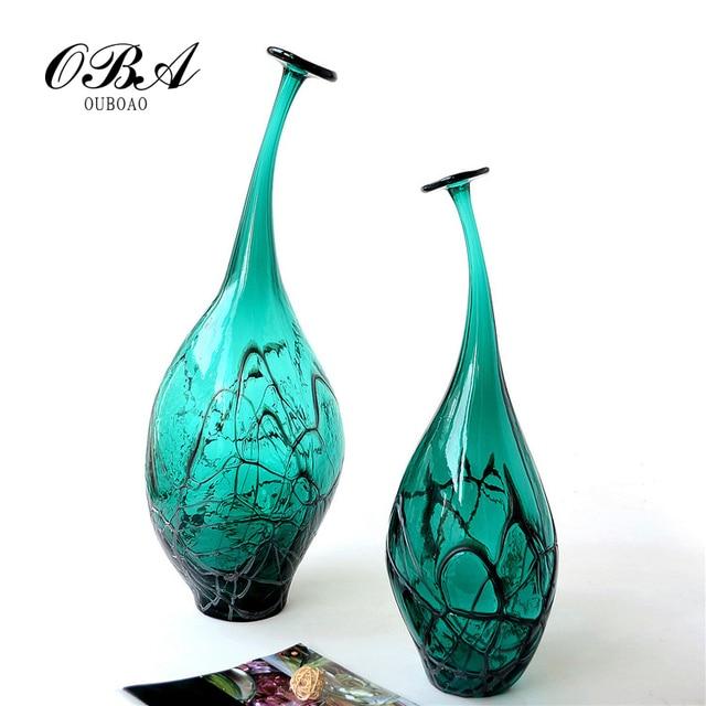 Hand Blown Glass Murano Art Style Teardrop Vase Blackish Green Clear