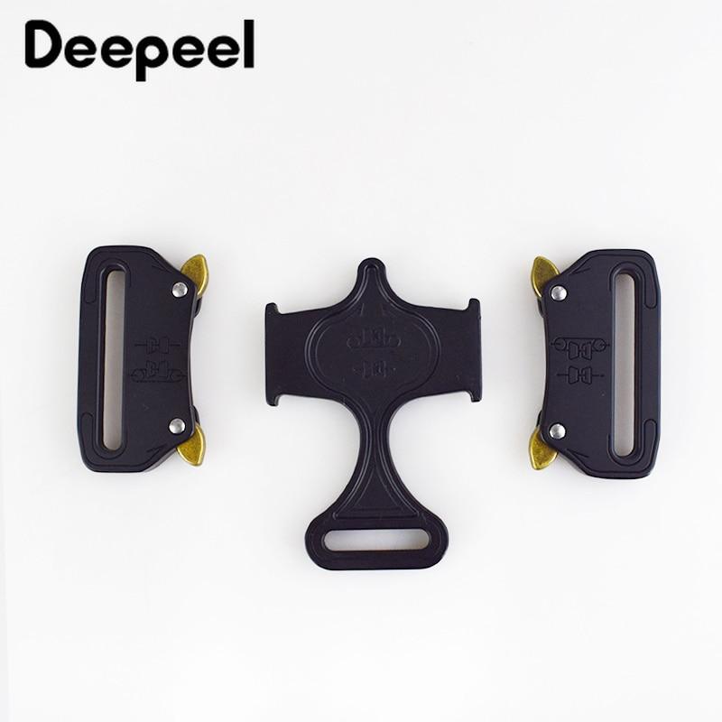 Deepeel 1pc 45mm Metal Buckles Alloy Double Release Hook Safety Belt Buckle DIY Adjustable Outdoor Sports Belt Accessories YK023