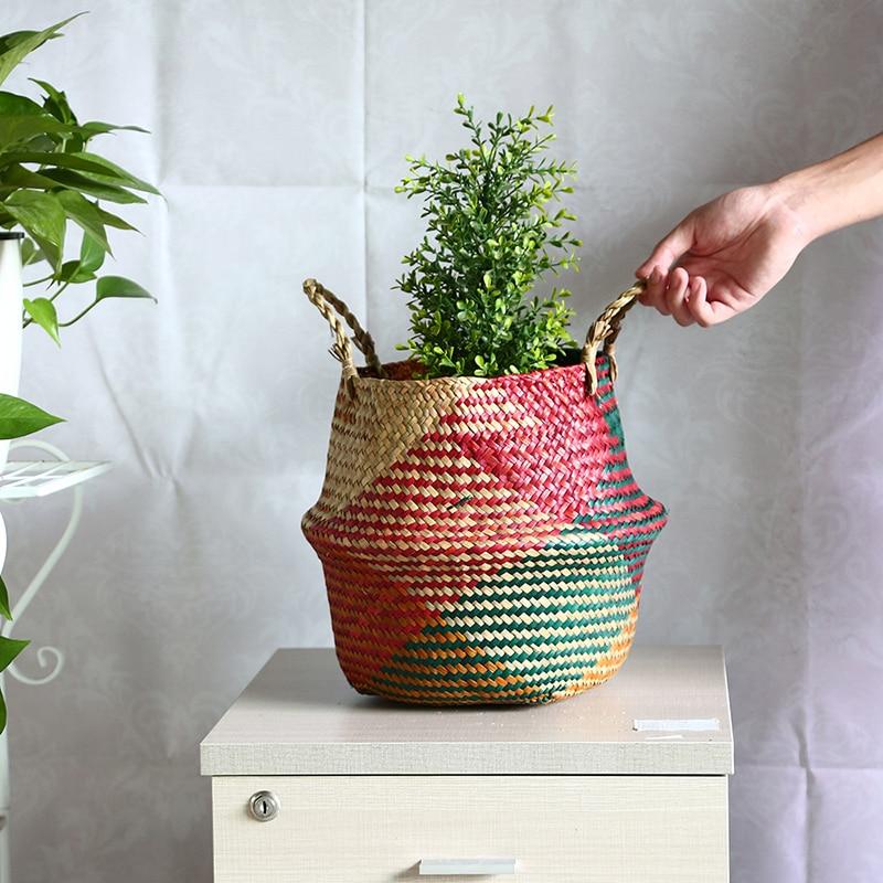 Straw Storage Basket Seagrass Plant Flower Pot Folding