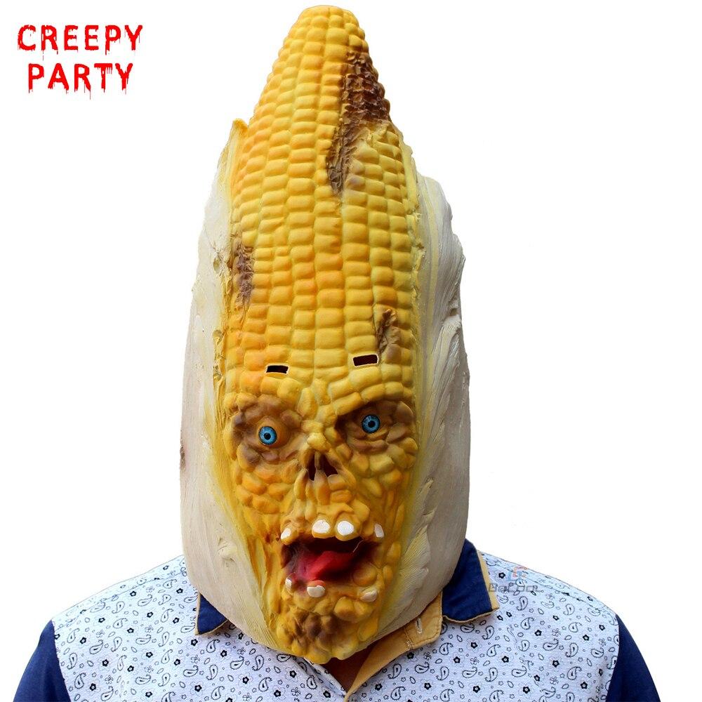 옥수수 괴물 풀 헤드 마스크 무서운 성인 현실적인 Laetx 파티 마스크 할로윈 멋진 드레스 파티 파티 가면을 장식 마스크 코스프레 의상