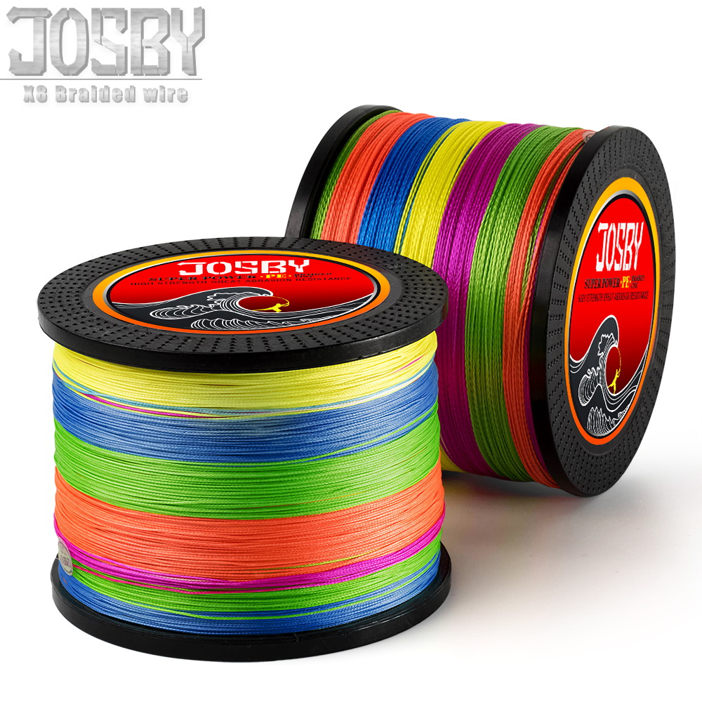 JOSBY 8 Strands 300M 500M 1000M PE Braided Fishing Line tresse peche Saltwater Fishing Superior Extreme Super Strong 12LB-78LB цена