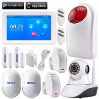 KERUI K7 WIFI+ GSM Alarm System Touch screen amazing design 7 Inch TFT Color Display kit+IP camera security burglar system