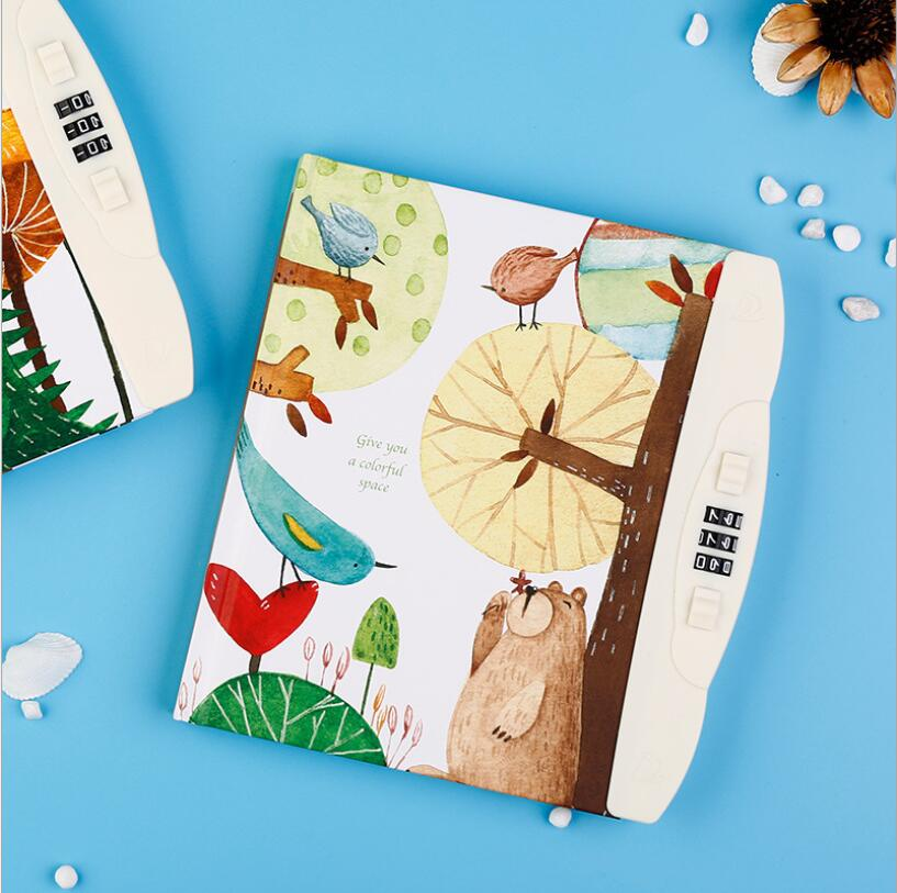 Cute Cartoon Notebook With Lock Password Journal Notepad Travel Diary Memos Weekly Planner Note Book Stationery School Supplies cartoon my world minecraft note book cute anime kraft paper notebook for school writing sketch painting diary planner notepad