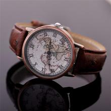 2016 New Fashion Design Men Women Vintage World Map Pattern Roman Dial Analog Leather Strap Quartz Watches Wristwatches