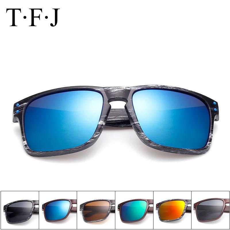 العلامة التجارية مصمم النظارات الشمسية الرجال / النساء UV400 مرآة Woodgrain نظارات الشمس مع حقيبة للجنسين oculos دي سول Ciclismo