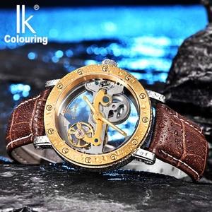 Image 3 - IK coloring Bridge Analog Display Mechanical Male Clock Automatic Wristwatch Golden Bezel Skeleton Watches relogio masculino