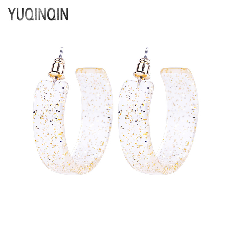 YUQINQIN Trendy Drop Acrylic Earrings for Women Big Geometric Resin Dangling Earings Fashion Crystal Metal Dangle Earring