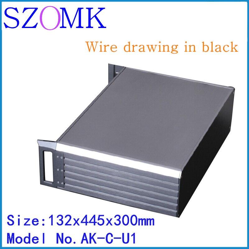 szomk black electronics aluminum amplifier project enclosure 1 pcs 132 445 300mm seperated extruded aluminum control