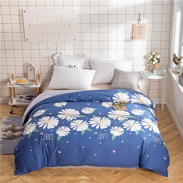 Blue White Print Single Duvet Cover Queen Size 200x220cm 100 Cotton