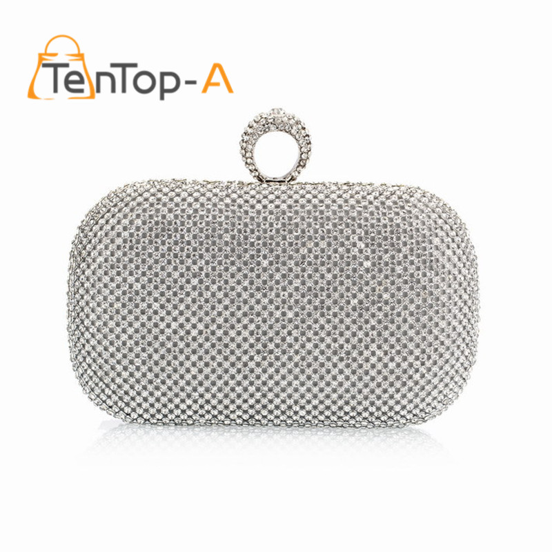 ФОТО TenTop-A Super Luxury Popular Women Both Sides Diamonds Finger Ring Evening Bags Day Clutches Purse/Bling Bags Gold/Silver/Black