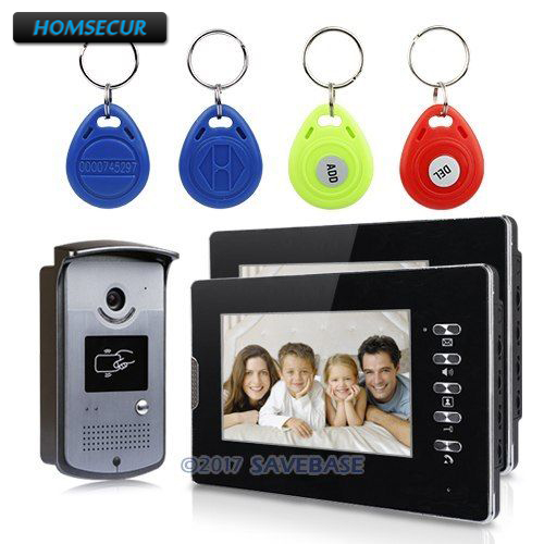 купить HOMSECUR Wired Video Door Phone Intercom System 7 Color Monitor 700TVL Camera Keyfobs