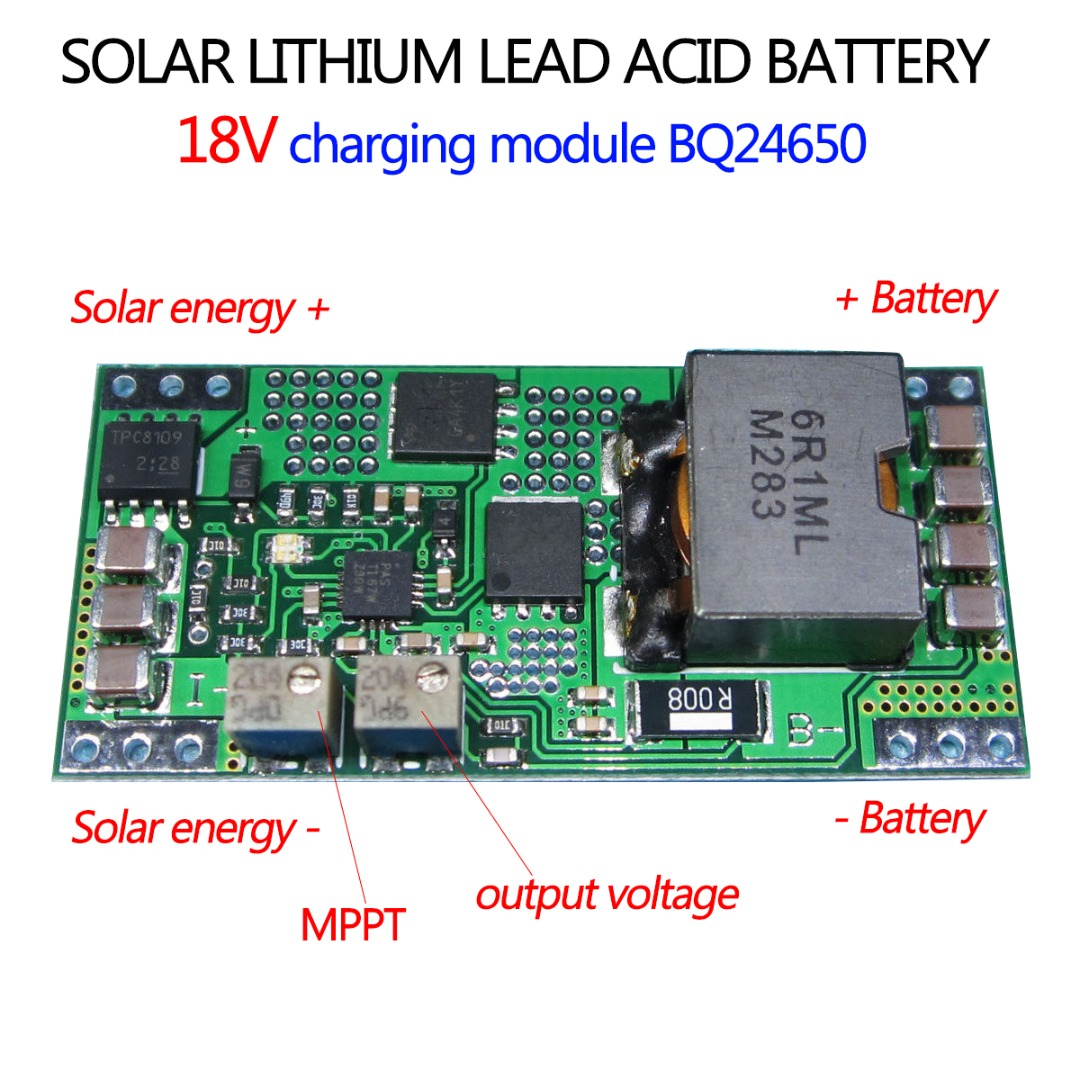 Bq24650 Mppt Solar Charging Module Panel Lithium Lead Acid Battery Charger Circuits Schematic Board 18v Controller