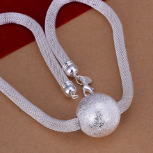 2015 new arrived 925 sterling silver jewelry big Grind sand ball  pendant necklace for women fine jewerly wholesale promotion
