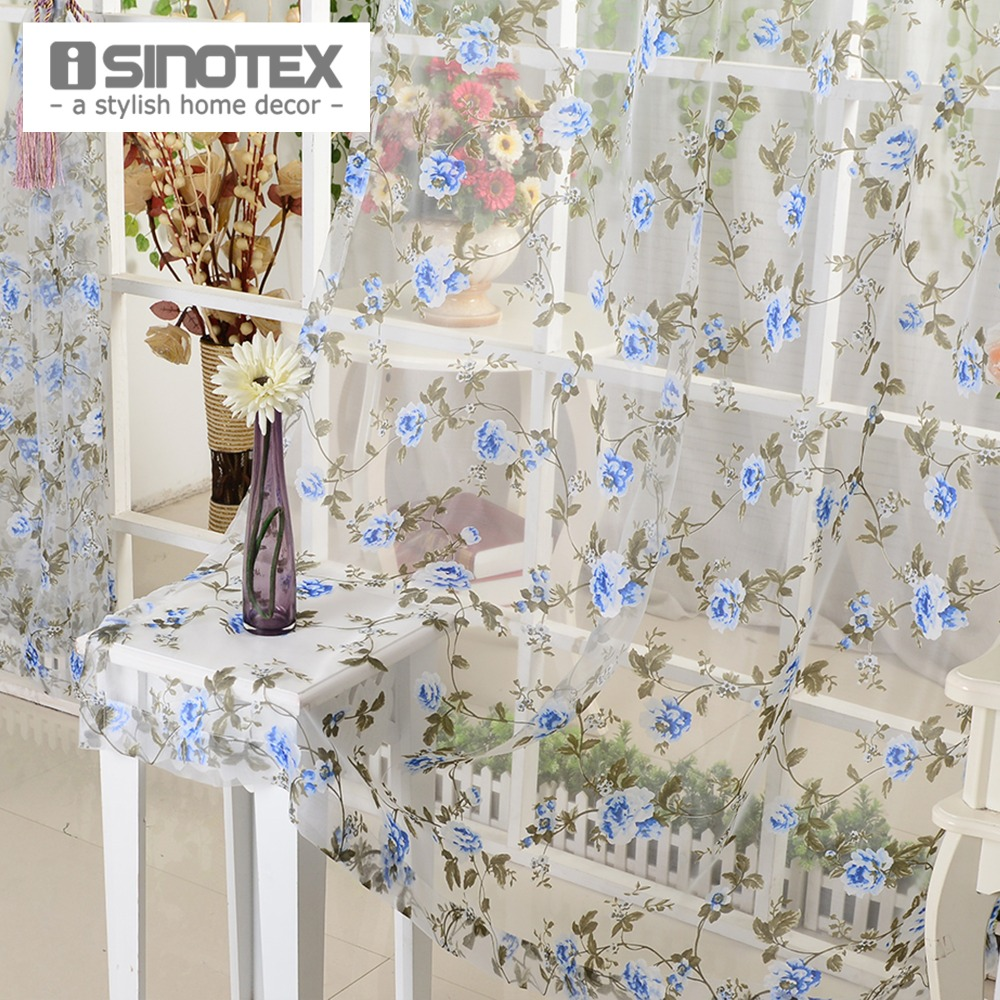 iSINOTEX Blue Floral Window Curtain Fabric Living Room Transparent ...