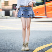 biktble Summer Mini Jeans Skirt Women Sexy High Waist Shorts Pleated Skirts Plus Size