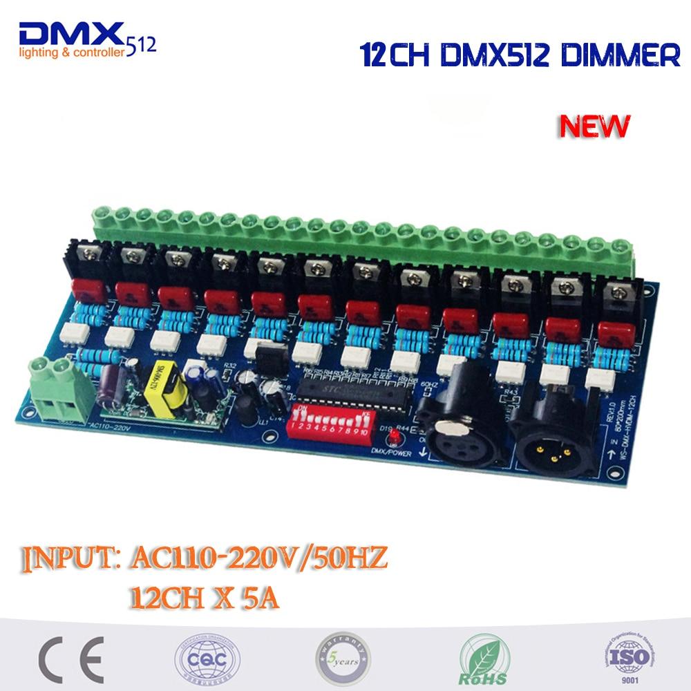 DHL Бесплатная доставка 6 шт./лот AC110 220V затемнения 12 каналов DMX512 контроллер для лампы накаливания переменного тока