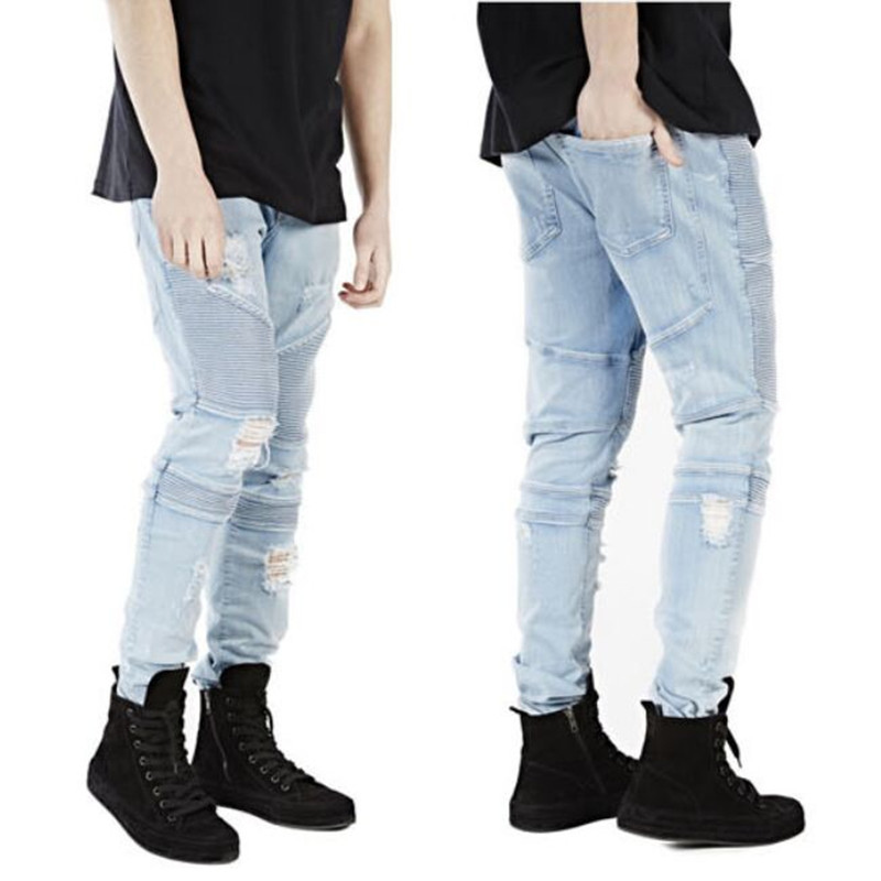 Mens Slim Skinny Biker Straight Elastic Denim Light Blue ...