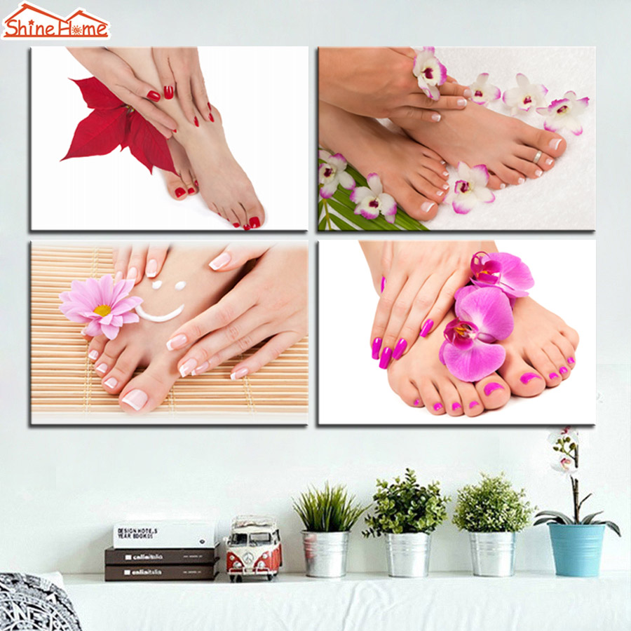 Hd Canvas Prints Picture Spa Nail Salon Store Decor Wall: ShineHome 4 Pieces Canvas Modular Wall Painting Printing