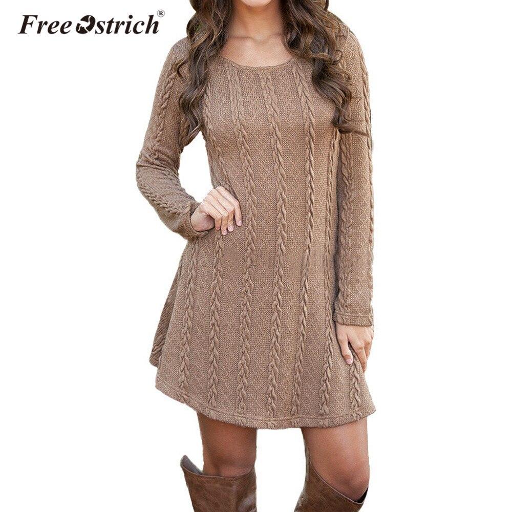 Free Ostrich Sweater Dress Women Autumn Winter 2017 Jumper Long Sleeve Casual Slim Women Knitted Mini