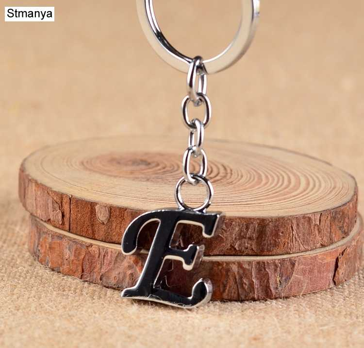 Simple DIY 26 Letter Metal keyChain Men Women cute Key chain Party Gift Jewelry Car Key Ring
