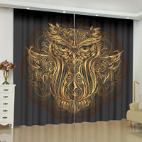 Dark gold window curtain Buddha statue blinds finished drapes window blackout cortina Room curtains parlour rideaux