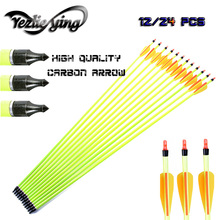 6/12/24PCS Hunting Archery Carbon Arrows 30 Inches Orange Yellow Feathering Compound/Recurve Bow Recurve Crossbow