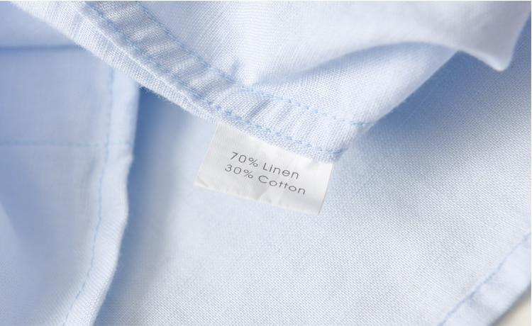 Suhaiwe moda moške slim majica z dolgimi rokavi posteljnina srajco - Moška oblačila - Fotografija 4