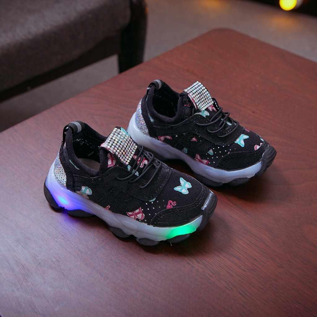 Детские светящиеся спортивные кроссовки с бабочкой и кристаллами для маленьких девочек; sapato infantil kinderschuhe; детская обувь для мальчиков