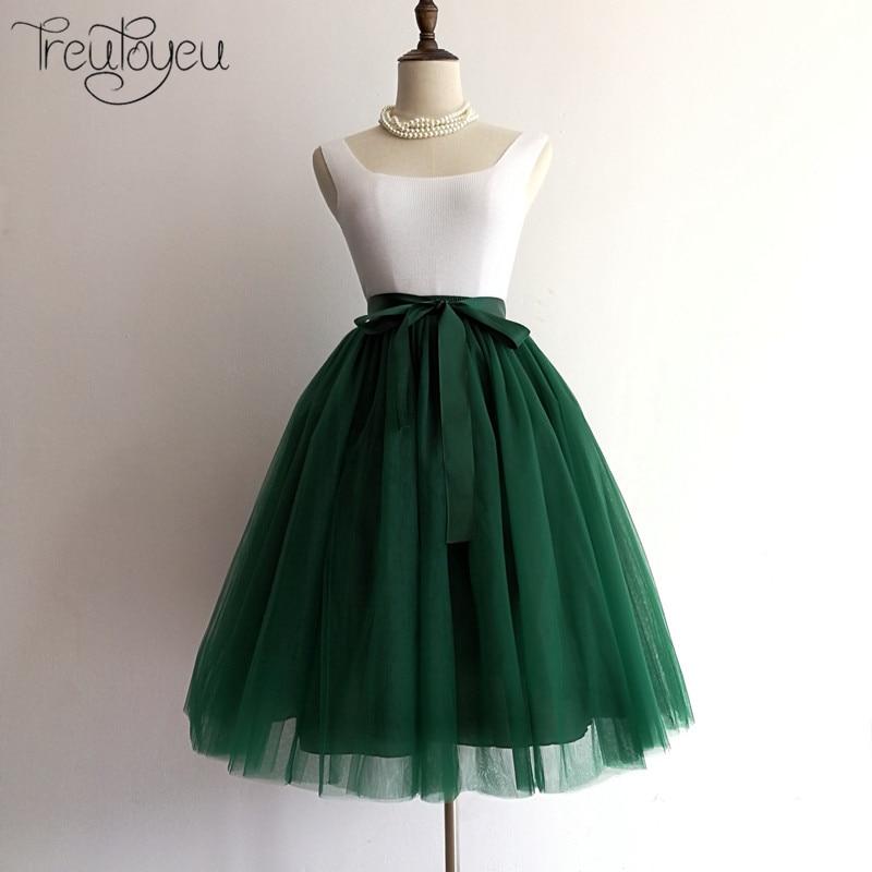 5 Layers 65cm Princess Midi Tulle Skirt Pleated Dance Tutu Skirts Womens Lolita Petticoa ...