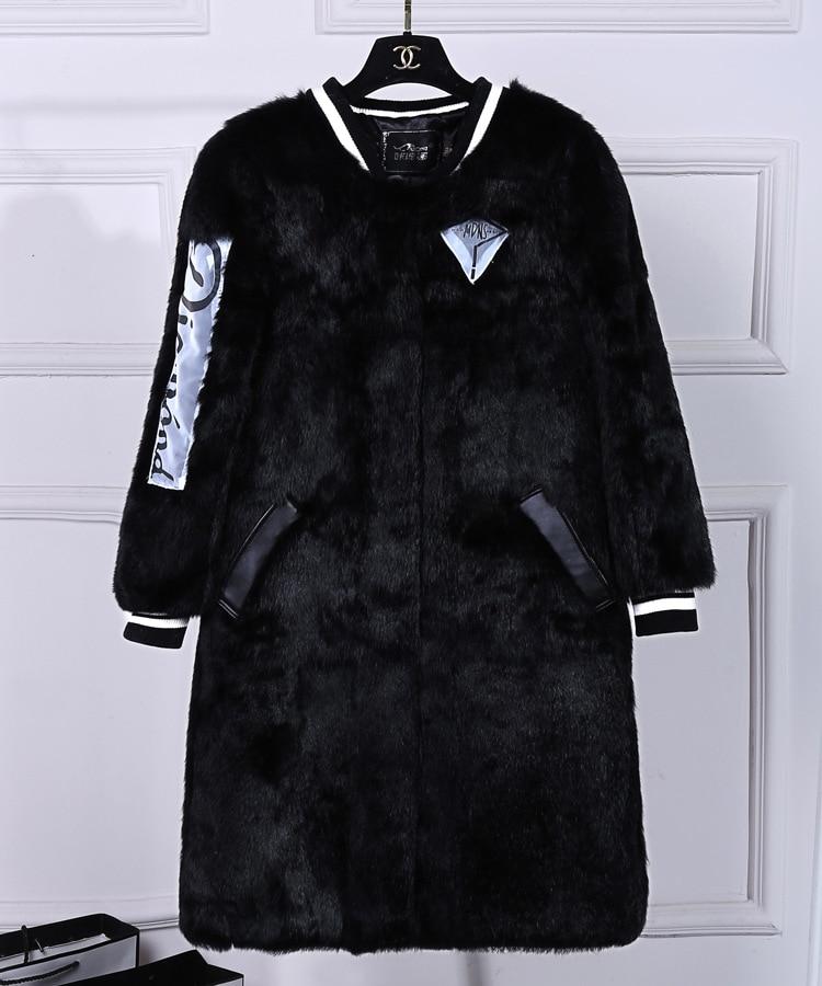 Chaqueta Abrigo La Black Real Envío Moda Gratis Piel Ropa Nueva Mujeres Conejo Toda De Natural Las Outwear XwPxXqa1