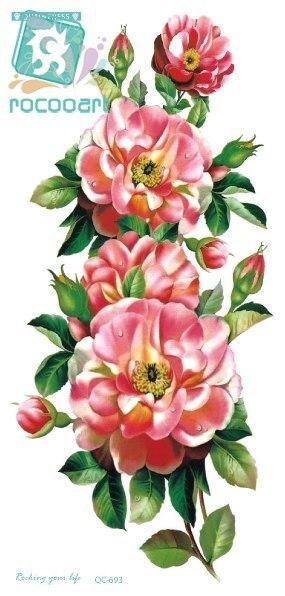 இrocooart Qc693 20x10 Cm Long Colore Hd Sexy Body Art Rose Rouge