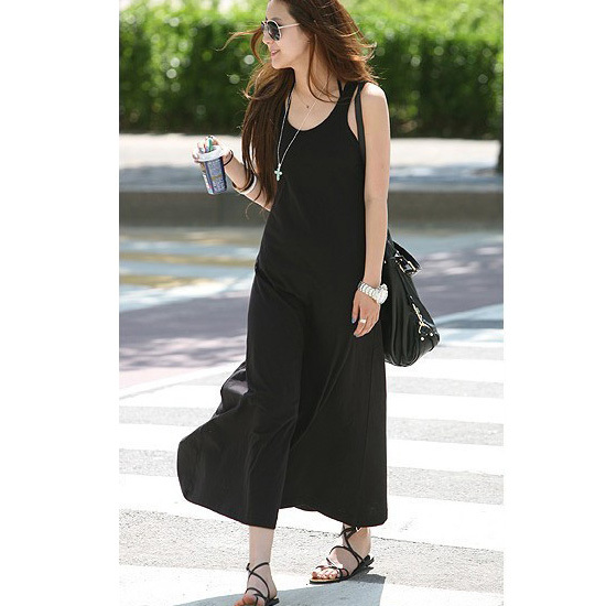 Summer Dress 2015 Women New Casual Long Style Sleeveless Black ...