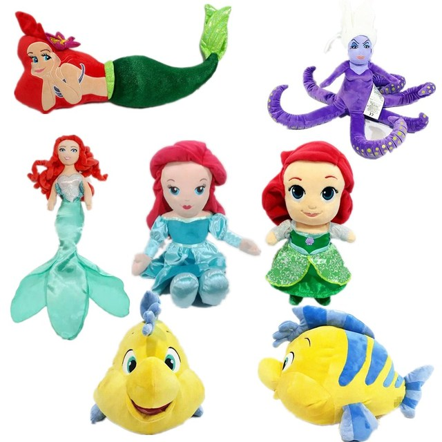 Big The Little Mermaid Plush Doll Flounder Ariel Octopus Ursula
