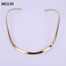 MGUB New 4mm wide Stainless steel jewelry collar Female fashion accessories Adjustable