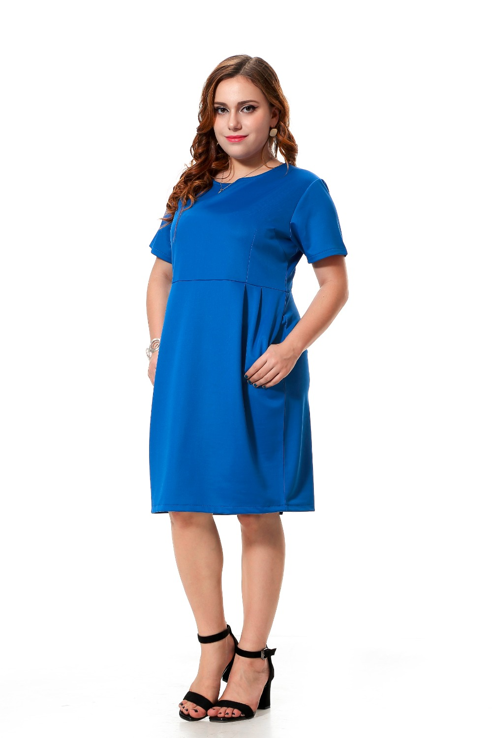 Plus size casual dress women with pockets blue loose dress 3xl 7xl spring fold party dress ...