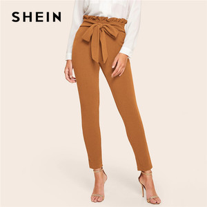 Image 3 - SHEIN Elegant Frill Trim Bow Belted Detail Solid High Waist Pants Women Clothing Fashion Elastic Waist Skinny Carrot Pants