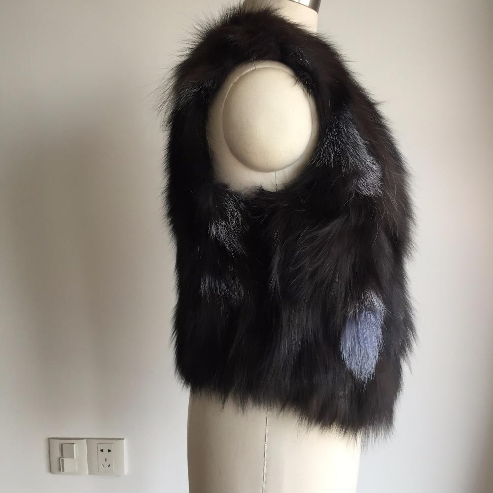 100 Gilet Longueur Réel Conception Renard Ah373 Femmes De Mode Unregular Naturel Spécial Fourrure rvr6IaWxwq