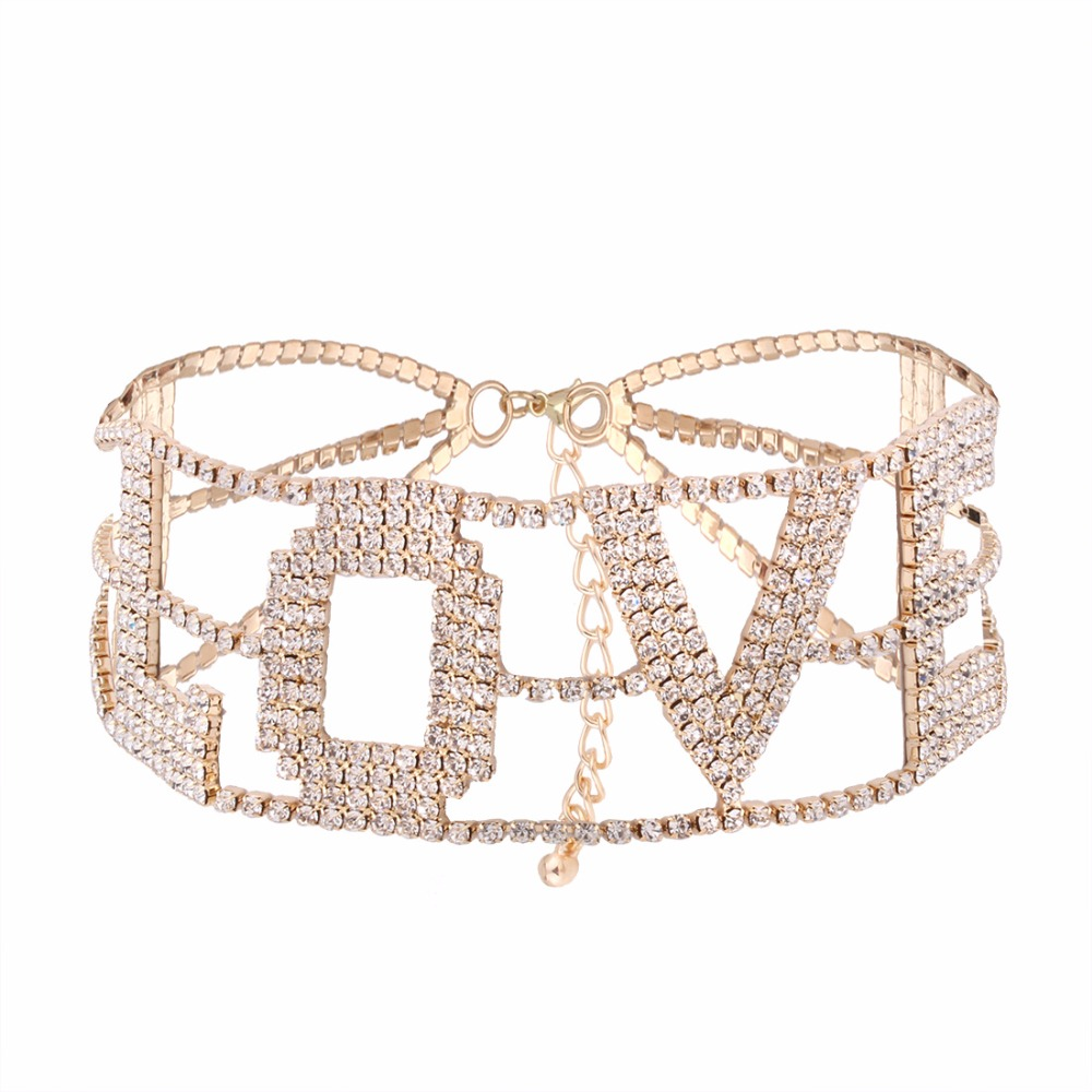 LOVE Rhinestone choker letter Necklace for Women crystal statement Chorker Necklace luxury jewellery party Collier Femme