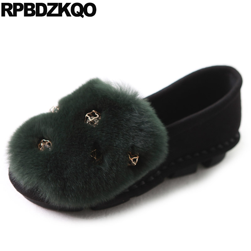 Moccasins Rhinestone Slip On Ladies Beautiful Flats Shoes Diamond Cute Round Toe Metal Women Fur Suede Green Spring Autumn beyarne spring summer women moccasins slip on women flats vintage shoes large size womens shoes flat pointed toe ladies shoes