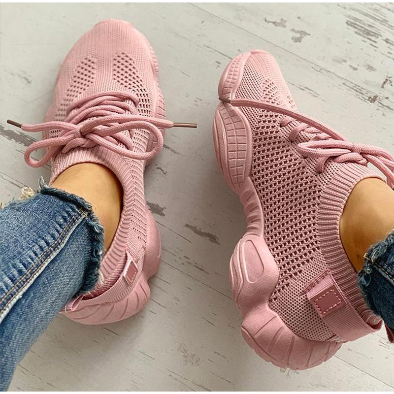 HTB1EvdGSzTpK1RjSZKPq6y3UpXav Women Mesh Spring Sneakers Ladies Lace Up Stretch Fabric Platform Flat Vulcanized Casual Shoes Female Breathable Fashion
