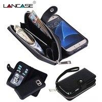 LANCASE S7 Bord Cas Multifonction 2 en 1 Amovible Fermeture Éclair Portefeuille Pour Samsung Galaxy S6 Bord Cas S8 S7 S6 S5 S4 En Cuir Sac