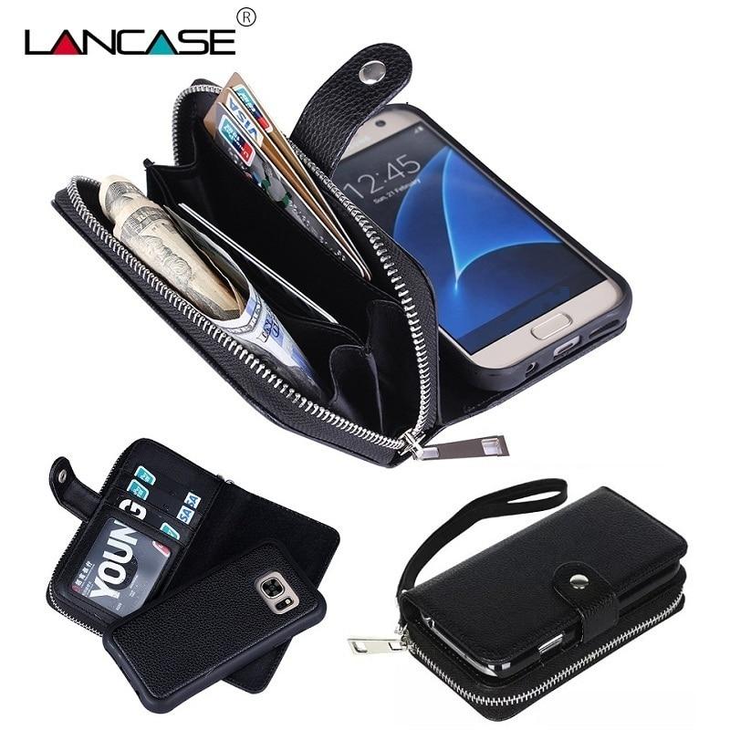 LANCASE S7 Edge Case Multifunkční 2 v 1 odnímatelná zipová peněženka pro Samsung Galaxy S6 Edge Case S8 S7 S6 S5 S4 Kožená taška