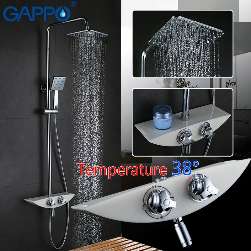 GAPPO bathroom thermostat faucet bathtub shower faucet mixer tap waterfall wall mount thermostatic mixer shower faucets taps traditional faucet chrome thermostatic bathroom faucets plastic handshower dual holes shower mixer tap