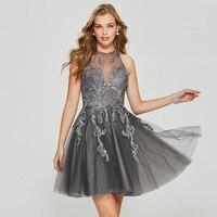Tanpell Короткие Homecoming платье серого кружева аппликации рукавов выше колена линии платье Леди Пром специально Homecoming платья